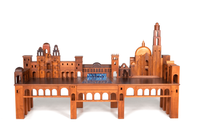 "I thought that Balboa Park would be a great theme for a ""Park Bench"". The arched bridge and sidewalk promenades are perfect for the base structure. The lily pond is the center with the some of the other park structures surrounding it. This piece was made for the Mingei show summer 2008 $11,500"