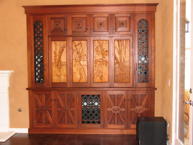 Spanish Entertainment Center with Wrought Iron