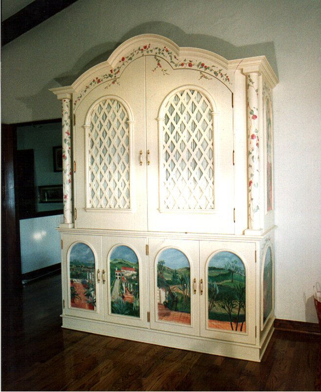 Entertainment Center with Original Artwork